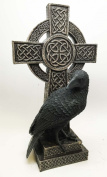 LARGE 30cm TALL PEERING RAVEN ON CELTIC MODERN CROSS STATUE DEATH LURKS CROW