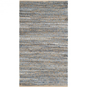 Safavieh Cape Cod Collection CAP351A Handmade Natural and Blue Jute Area Rug, 0.6m by 0.9m