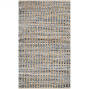 Safavieh Cape Cod Collection CAP352A Handmade Natural and Blue Jute Area Rug, 0.6m by 0.9m