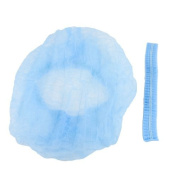 Water & Wood 2PCS Travel Light Blue Stretchy Plastic Disposable Bath Shower Cap