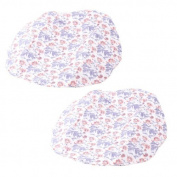 Water & Wood 2 Pcs Bathroon White Purple Flower Pattern Elastic Hem Bath Shower Cap