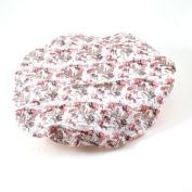 Water & Wood 2 Pcs Floral Pattern Water Resistant Bath Shower Cap Hat Pink White