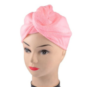 FOREVER YUNG Ladies Shower Hair Quick Drying Pink Microfiber Hat Cap