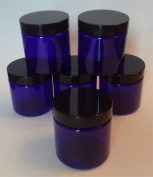 120ml Cobalt Blue Plastic Jars with Glossy Black Caps [Set of 6]