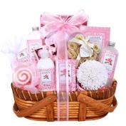 Pretty Pink Tea Rose Spa Gift Basket