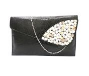 Bhamini Women's Clutch Metallic Finish With Shellwork