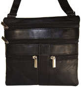 Improving Lifestyles Leather Cross Body Bag with Adjustable Strap with FREE Organza Gift Bag SUN 709 BK - BLACK