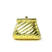 Elegant Hardshell Trapezoid Shaped Gold Brass Small Evening Bag with Rhinestones