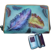 Anuschka Twin Zip Around Organiser Wallet Hand Painted Leather Floating Feathers