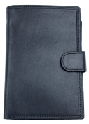 Women's Italian Large Black Genuine Leather Wallet with Removable Passport Holder