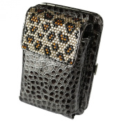 Arcadia Fashion Zebra Bling Wallet I.D. Carry Case with Long Shoulder Chain