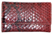 Women's Red Genuine Leather Wallet Made of Cowhide with Snake Surface Imitation