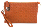Proya Collection Buckle Lock Woven Leather Large Wristlet Clutch