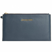 Michael Kors Bedford Large Zip Leather Clutch Wristlet - Navy