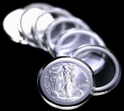 10 Airtite Coin Capsule Holders w WHITE Rings for American Silver Eagle Dollar
