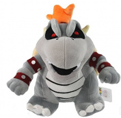 super mario bros bowser koopa dry bone grey 25cm plush doll toy RARE!