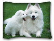 Decorative Standard Pillow Case Animals Dogs puppy mother cub grass lawn White fluffy 50cm *70cm One Side