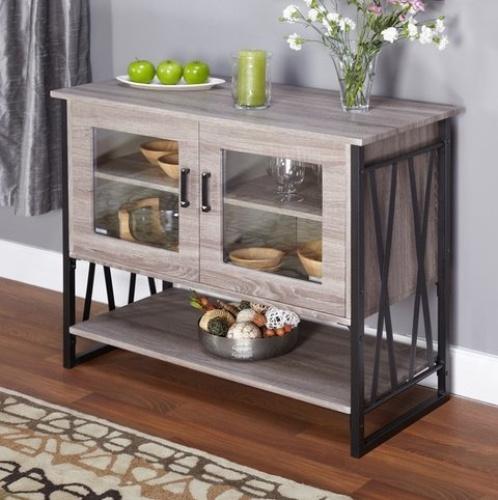 Seneca glass metal wood laminate small dining room buffet cabinet storage free ebay - Small dining room storage ...