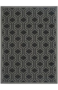 Safavieh CY6114-225 Courtyard Collection Indoor/Outdoor Area Rug, 0.6m by 1.8m, Black/Anthracite