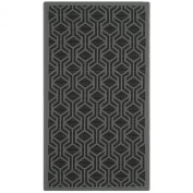 Safavieh CY6114-225 Courtyard Collection Indoor/Outdoor Area Rug, 0.6m by 1.5m, Black/Anthracite