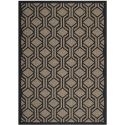 Safavieh CY6114-81 Courtyard Collection Indoor/Outdoor Area Rug, 1.5m by 2.1m, Brown/Black