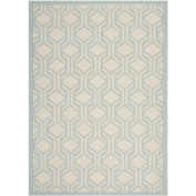 Safavieh CY6114-213 Courtyard Collection Indoor/Outdoor Area Rug, 1.5m by 2.1m, Beige/Aqua