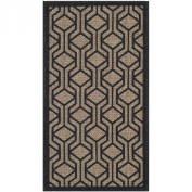 Safavieh CY6114-81 Courtyard Collection Indoor/Outdoor Area Rug, 0.6m by 0.9m, Brown/Black