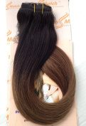 """Tressmatch 20""""(60cm ) Clip in Remy (Remi) Human Hair Extensions Ombre/dip Dye Off Black to Chestnut/medium Brown 10 Pieces Thick to Ends Full Head Volume Set [Set Weight:160ml/150grams]"""