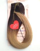 Tressmatch® 50cm - 60cm Remy (Remi) Human Hair Clip in Extensions Ombre/dip Dye Brunette/Dark Brown/Blonde Full Head Set 10 Pieces(pcs) [Set Weight:160ml/152grams]