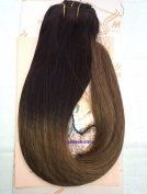 """Tressmatch 20""""(60cm ) Clip in RemyHuman Hair Extensions Thick to Ends Ombre/dip Dye Brunette/dark Brown to Chestnut/medium Brown Full Head Set [160ml/150grams]"""