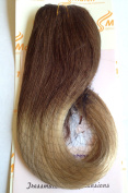 """Tressmatch 16""""(46cm ) Clip in Remy Human Hair Extensions Ombre Chestnut/Medium Brown to Bleach/Natural Blonde 9 Pieces(pcs) Full Head Volume Set Thick to Ends [Weight:140ml/130grams]"""