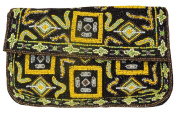 Spice Art Women's Black Handmade Beaded Clutch in Tribal Pattern