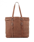 Ash Axel Studded Tabbed Leather Tote Bag, Saddle