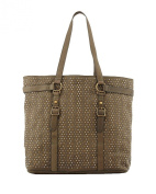 Ash Axel Studded Tabbed Leather Tote Bag, Army Green