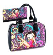 Betty Boop Satchel Handbag Wallet Set, Black with Floral Pattern