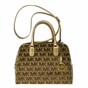 Michael Kors MK Signature LG Satchel Handbag in Beige/Ebony/Gold