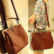 Fashionbox Classic Ladies' PU Crossbody Tote Bag Vintage Casual Message Shoulder Handbag - Vintage Brown