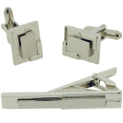 Artamis Two Tone Silver Metal Gents Cufflinks and Tie Bar Set