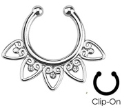 Silver Tribal Fan with Clear Gems Non-Piercing - Fake Septum Clicker - Pierced & Modified Body Jewellery
