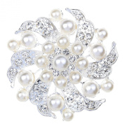 Silver Plated Faux Pearl & Crystal Flower Brooch
