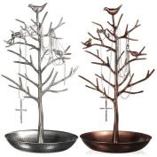 New Antique Bronze Birds Tree Jewellery Stand Display Earring Necklace Holder Jewellery Stand Rack Storage