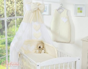 BEAUTIFUL NEW & QUALITY CREAM CANOPY / DRAPE / MOSQUITO NET with decorative BOW & HEARTS + DRAPE / CANOPY HOLDER MOSQUITO NET CLAMP ROD BAR POLE COT / COT BED