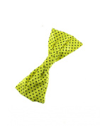 Large Neon Triple Pleated Polka Dot Bow On Barrette