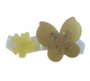 Silver Beige Gold Diamante Shiny Butterfly Large Hair Slide Clip