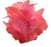 Bright Flower Fascinator with Pearls and Spotty Net on a Clip, Hair Accessory, Great for Weddings and Special Events DCUK ®