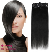 SUNMAY Remy Clip in Human Hair Extensions - Full Head of 46cm inch human hair -High Quality Remy Hair MDN-18-1B