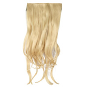 UniqueBella Fashionable 70cm Long Curly 3/4 Half Head Synthetic Hair Extension Clip On Hairpieces 5 Clips Light Golden
