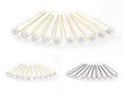 10 rhinestone beads on golden hairpins - PS-HG