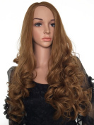 Women Synthetic Curly Wavy Curl coffe brown Clip in Hair Fall Half Wigs 3/4 full wig 60cm