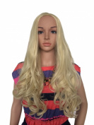 Women Synthetic Curly Wavy Curl pale blonde Clip in Hair Fall Half Wigs 3/4 full wig 60cm